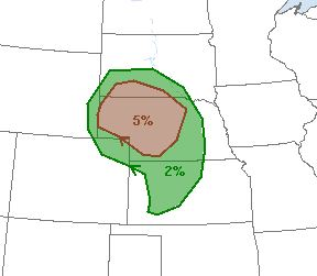 Probability of a tornado within 25 miles of a point.